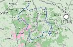 Eine Karte der Lüneburger Heide. Auf ihr ist eine Route eingezeichnet.