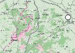 Eine Karte des Gebiets der Lüneburger Heide. Die Strecke der Heide-Kunst-Tour ist eingezeichnet.