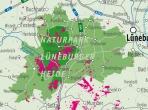 Übersichtskarte mit Heideflächen der Lüneburger Heide