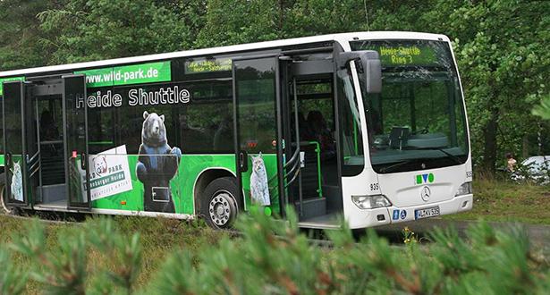 Ein Bus als Heide-Shuttle